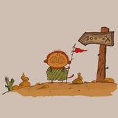 Hilarious meerkats boy in the desert — Stock Vector