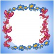 Photo frame flower  butterflie - Stock Vector