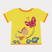 The girl flying butterfly — Stock Vector