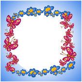 Photo frame flower butterflie — Stock Vector