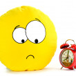 Smile and a red alarm clock — Stock Photo