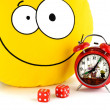 Red alarm clock, smile and dice — Stockfoto #22241113