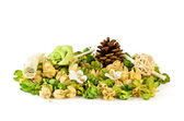 Dry potpourri with fir cones, rose wood and spring — Stock Photo