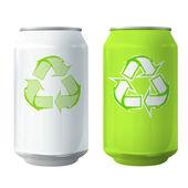 La lata con el icono de reciclaje. diseño vectorial. — Vector de stock