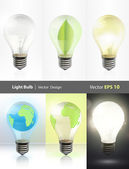 Collection of realistic bulbs. Lightbulb, lightbulb off, bulb with earth, and bulb with leaf. Vector design. — Stock Vector