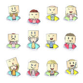 Set of kids in colorful holes. Vector design. — Stock Vector