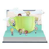 Many kids with cup inside a book. Vector design. — Stock Vector