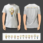 Kids with several emotions printed on white shirt. Realistic vector illustration. — Stock Vector