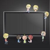 Molti bambini intorno a un tv. disegno vettoriale. — Vettoriale Stock