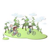 Kinderen in de fiets in het prachtige landschap. vector ontwerp. — Stockvector