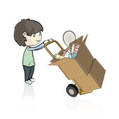 Child buying many objects in a store. Vector illustration. — Stock Vector