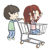 Girl walking in a shopping cart. Vector illustration. — Stock Vector