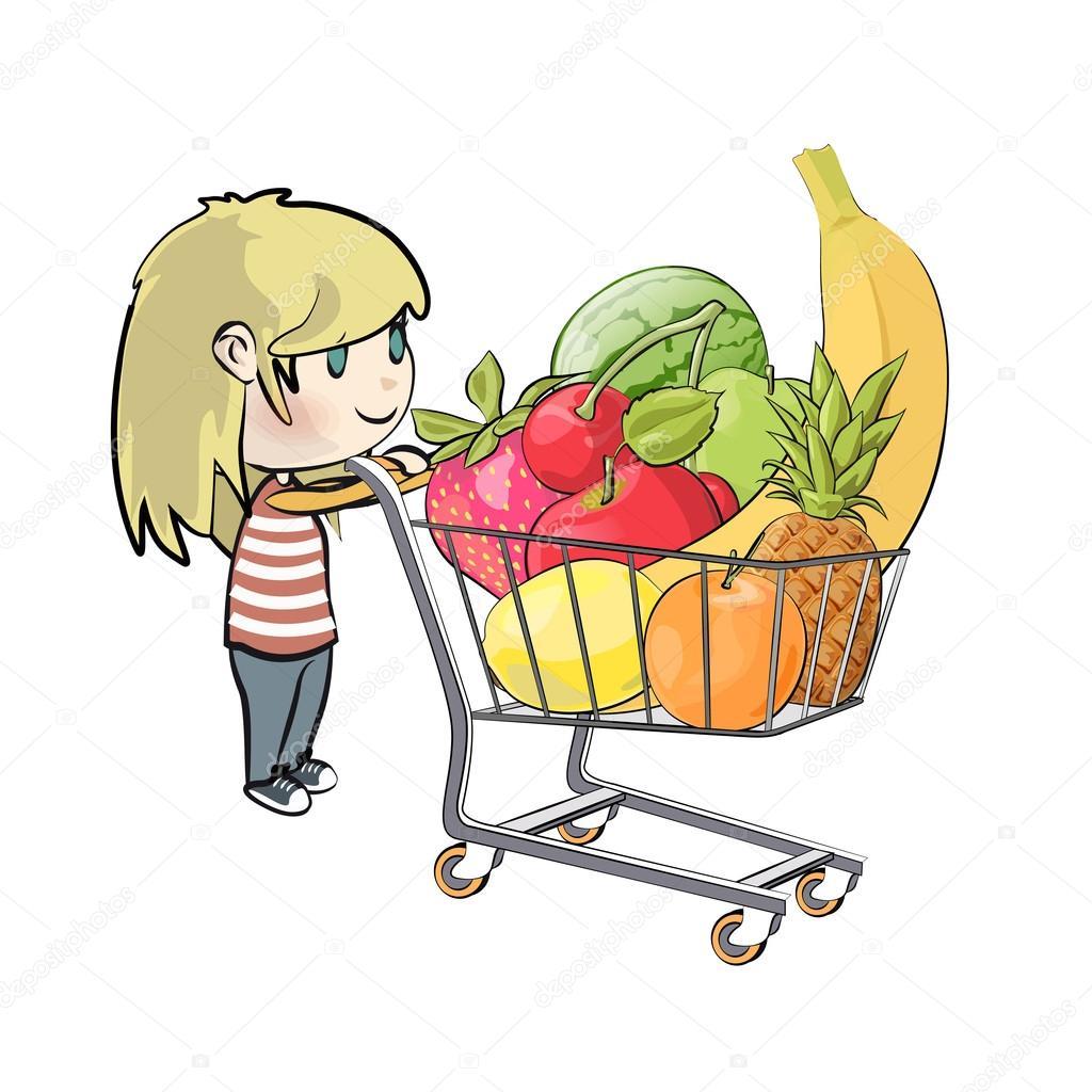 Blonde girl buying fruit in a supermarket. Vector illustration ...