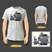 Kids around phone printed on white shirt. Realistic vector illustration. — Stock Vector