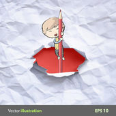 Kid on pencil after broken a paper. Vector background design. — Wektor stockowy