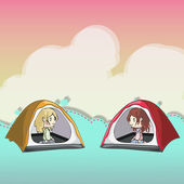 Two friends in a tent. Vector design. — Stock Vector
