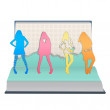 Silhouette girls printed on open book. Vector design. - Stock Vector