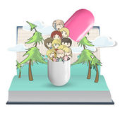 Several kids inside a pill printed on open book. Vector design. — Stock Vector