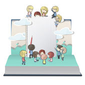 Notebook with several children printed on open book. Vector design. — Stock Vector