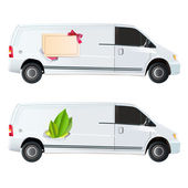 Icon of leaf and card printed on van. Vector design. — Stock Vector