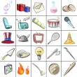 Stok Vektör: Group of multiple objects isolated on white background. Vector illustration.