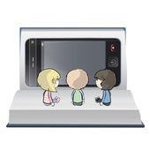 Three children watching TV on a book. Vector design. — Stock Vector