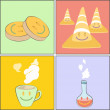 Collection of cute cartoon. Pill, cone, tea cup, tube. — Stock Vector