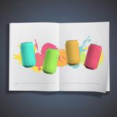 Colorful tin inside a book. Vector design. — Stock Vector