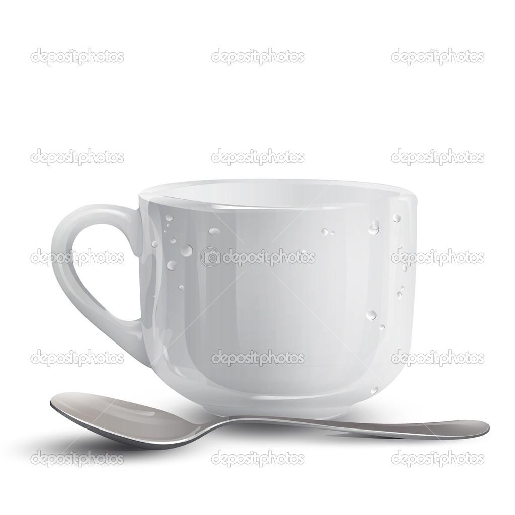 用勺子的白色杯.矢量设计