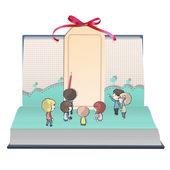 Veel kinderen met gift card binnen een boek. vector ontwerp. — Stockvector