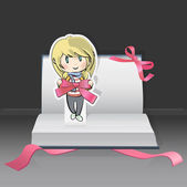 Girl on a Pop-Up book with cute red ribbons. Vector design. — Stock Vector