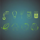 Collection of green icons. — Stock Vector