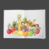 Kids around fruits printed on white book, Vector design. — Stock Vector