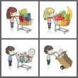 Vector de stock : Girl and boy buying many gifts and items in a toy store shop. Vector illustration.
