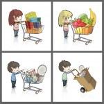 flicka och pojke köper många gåvor och objekt i en leksak butik butik. vektor illustration — Stockvektor