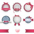 Set of vintage labels with nice ribbons. Vector design. - Stock Vector