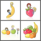 Many children enjoy between a lot of fruit. Collection images of isolated vector illustration. — Stock Vector