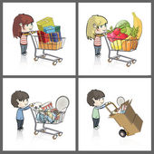 Girl and boy buying many gifts and items in a toy store shop. Vector illustration. — Stock Vector