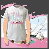 Beautiful print on shirt. Vector Background. — Stock Vector