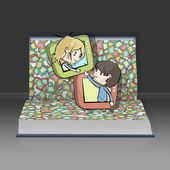 Children in televisions inside a open Pop-up book. Vector design. — Stock Vector