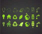 Collection of several ecological icons. Vector design. — Stock Vector