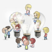 Several kids around bulb. Vector design. — Stock Vector