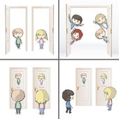 Collection of kids and doors. Vector design. — Stock Vector