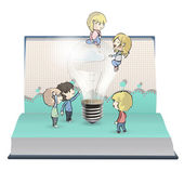 Kids around bulb in book. Vector design. — Stock Vector