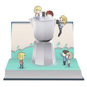 Kids around coffee pot in book. Vector design. — Stock Vector