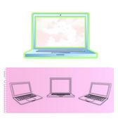 Moderne laptop geïsoleerd. vectorillustratie. — Stockvector