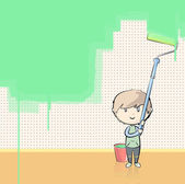 Kid painting the wall with a paintbrush. Vector illustration. — Stock Vector
