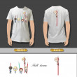 Many friends with pencil in a shirt. Realistic vector illustration. — Imagens vectoriais em stock