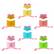 Open colorful box with red ribbons on isolated background. Vector design. - Stock Vector