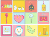 Collection of icons on colorful backgrounds. — ストックベクタ